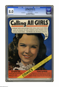 Calling All Girls #1 (Parents' Magazine Institute, 1941) CGC VF 8.0 Off-white pages. Photo cover. Jack Sparling art. Ove...