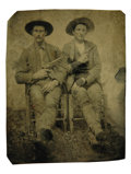 Photography:Tintypes, Tintype - Two Cowboys With Drawn Weapons...