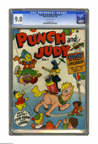 Punch and Judy Comics #1 (Hillman Publications, 1944) CGC VF/NM 9.0 Off-white pages. Highest grade yet assigned by CGC f...