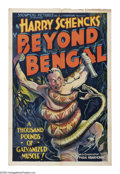 "Movie Posters:Adventure, Beyond Bengal (Showmens Pictures, 1934). One Sheet (27"" X 41"").Filmed in the remote jungles of the Malayan Peninsula under ..."