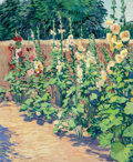 Fine Art - Painting, American, Robert Daughters (American, b. 1929). Hollyhock Garden. Oilon canvas. 24 x 20 inches (61.0 x 50.8 cm). Signed lower lef...