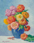 Fine Art - Painting, American, Birger Sandzén (American, 1871-1954). Zinnias, 1946. Oil onMasonite. 20 x 16 inches (50.8 x 40.6 cm). Signed lower left...