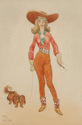 Works on Paper, Maynard Dixon (American, 1875-1946). Go Western, 1942. Watercolor and pencil on board. 11 x 7-1/2 inches (27.9 x 19.1 cm...