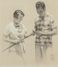 Fine Art - Work on Paper, Norman Rockwell (American, 1894-1978). Barry Goldwater and WifePeggy, McCall's Interior Illustration, November 1964. Pe...