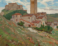 Dean Cornwell (American, 1892-1960) Mediterranean Town with Bell Tower Oil on canvasboard 17-1/2