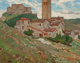 Dean Cornwell (American, 1892-1960) Mediterranean Town with Bell Tower Oil on canvasboard 17-1/2 x 21-1/2 inches (44