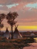 Fine Art - Painting, American, Michael Coleman (American, b. 1946). The Campground atSunset. Oil on board. 14-3/4 x 11-1/2 inches (37.5 x 29.2 cm).Si...