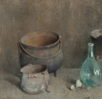 Emil Carlsen (American, 1853-1932) Hearthstone, 1922 Oil on panel 15 x 15-7/8 inches (38.1 x 40.3