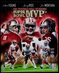 Football Collectibles:Photos, Steve Young, Jerry Rice and Joe Montana Multi Signed OversizedPhotograph. ...