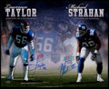 Football Collectibles:Photos, Lawrence Taylor and Michael Strahan Signed Oversized Photograph....