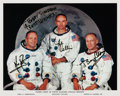 Autographs:Celebrities, Apollo 11 Crew-Signed White Spacesuit Color Photo. ...