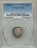 Barber Dimes: , 1904-S 10C VF35 PCGS. PCGS Population: (15/157). NGC Census: (1/83). Mintage 800,000. ...