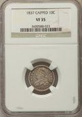 Bust Dimes: , 1837 10C VF35 NGC. NGC Census: (6/126). PCGS Population: (16/178).Mintage 359,500. ...