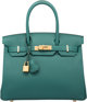 Hermes 30cm Malachite Togo Leather Birkin Bag with Gold Hardware A, 2017 Condition: 1