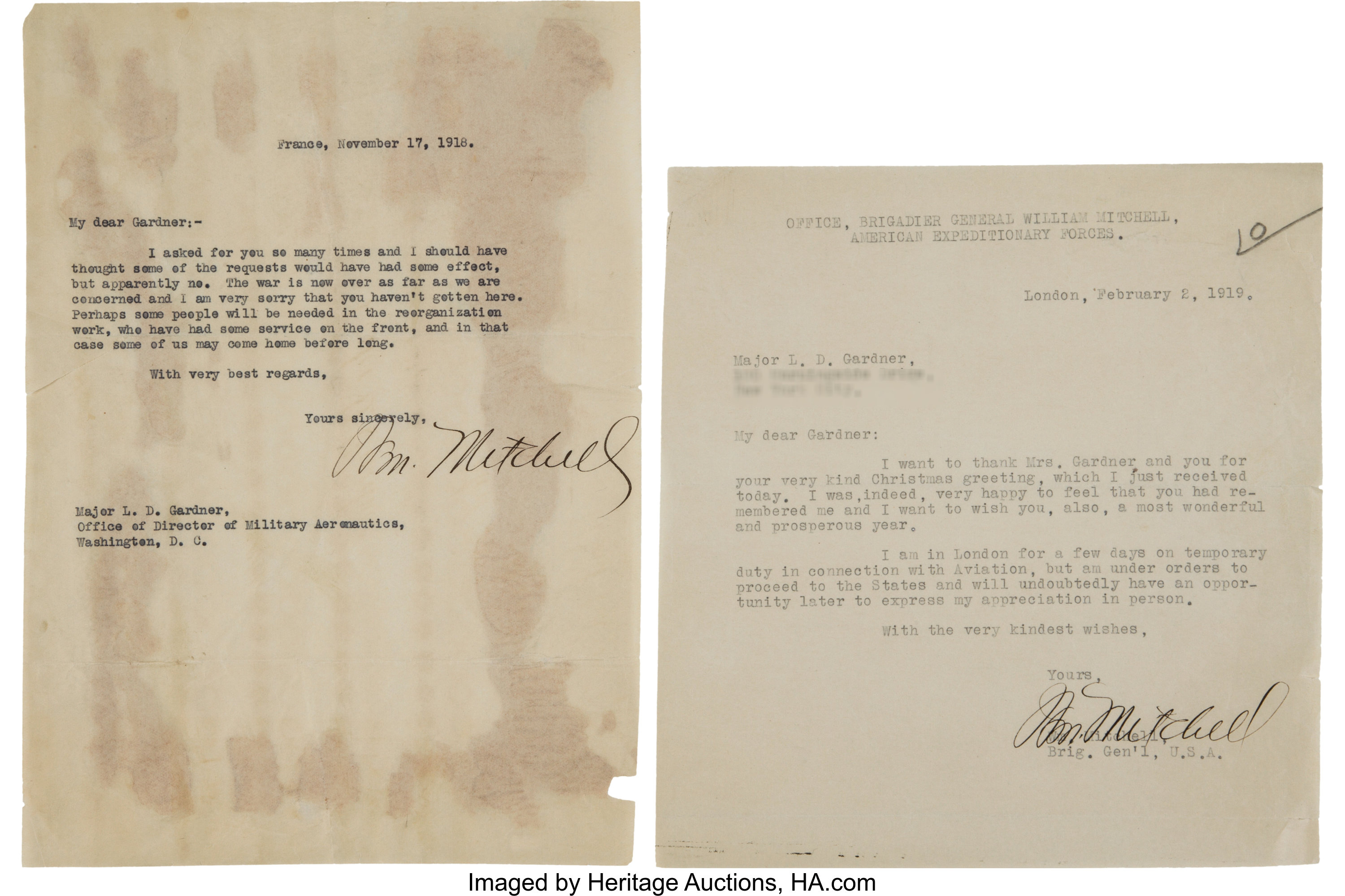 William Mitchell Two Typed Letters Signed    (Total: 4 Items
