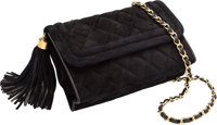 "Chanel Black Quilted Suede Evening Bag Excellent Condition 7.5"" Width x 5.5"" Height x 2.5"" Depth<..."