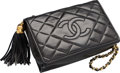 "Luxury Accessories:Bags, Chanel Black Quilted Lambskin Leather Evening Bag. Good Condition. 7.5"" Width x 5"" Height x 2.5"" Depth. ..."