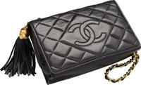 """Chanel Black Quilted Lambskin Leather Evening Bag Good Condition 7.5"""" Width x 5"""" Height x 2.5"""" De"""
