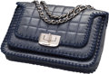 """Luxury Accessories:Bags, Chanel Navy Blue Square Quilted Distressed Lambskin Leather Flap Bag. Very Good to Excellent Condition. 9.5"""" Width x 6..."""