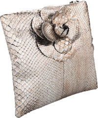 """Chanel Metallic Silver Python Camellia Clutch Very Good to Excellent Condition 9.5"""" Width x 4.5"""""""