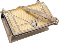 """Christian Dior Metallic Gold Bead & Silver Patent Leather Small Diorama Bag Excellent Condition 8.5"""" Width x"""