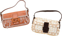 """Fendi Set of Two; Brown Leather & Pearlescent Shell Baguette Bags Good to Very Good Condition 10"""" Width x 5"""