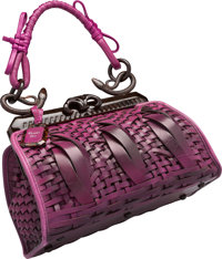 "Christian Dior Limited Edition Purple Woven Leather Samourai 1947 Bag Very Good Condition 12"" Wid"