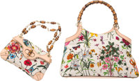 """Gucci Set of Two; White Floral Canvas & Beige Leather Bags Good to Very Good Condition 14"""" Width x 8"""" Heig..."""