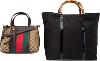 Gucci Set of Two; Black Nylon Canvas & Beige Monogram Canvas Tote Bags Very Good to Excellent Condition 15""