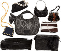 """Valentino Set of Eight; Multicolor Mesh, Satin, Leather & Ponyhair Bags Good Condition 12"""" Width"""