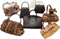 """Luxury Accessories:Bags, Valentino Set of Seven; Multicolor Leather, Ponyhair & Raffia Bags. Good to Very Good Condition. 12"""" Width x 7"""" Height... (Total: 7 Items)"""