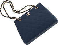 "Chanel Navy Blue Quilted Grosgrain Tote Bag Excellent Condition 11"" Width x 8"" Height x 4"" Depth"