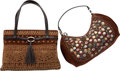 "Oscar de la Renta Set of Two; Brown Embroidered Suede Bags Very Good to Excellent Condition 16"" W"