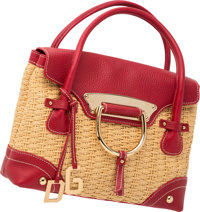 "Dolce & Gabbana Natural Woven Fabric & Red Leather Tote Bag Very Good to Excellent Condition 12"" Width x 9&..."