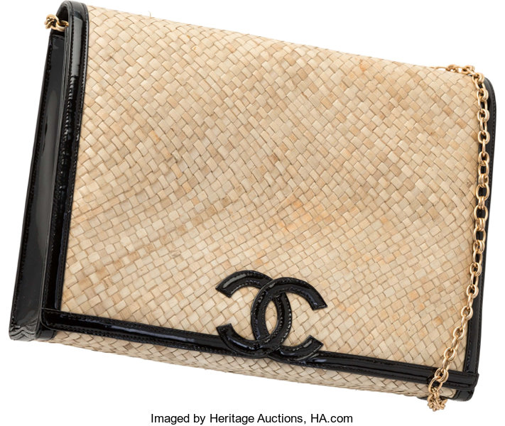 cbbabe102c52 Luxury Accessories:Bags, Chanel for Amen Wardy Natural Woven Raffia &  Black PatentLeather