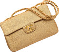 "Chanel Metallic Gold Brocade Maxi Single Flap Bag 13.5"" Width x 9"" Height x 4"" Depth Very Good Co"