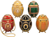 Vivian Alexander Set of Five; Red, Green, Black, Yellow & Orange Enamel Egg Minaudiere Evening Bags Good and Ex