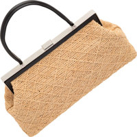 """Chanel Beige Woven Fabric Shoulder Bag Very Good Condition 15"""" Width x 8"""" Height x 4"""" Depth"""