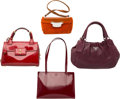"""Luxury Accessories:Bags, Prada Set of Four; Multicolor Leather Suede & Patent Leather Bags. Good to Very Good Condition. 9.5"""" Width x 6"""" Height... (Total: 4 Items)"""
