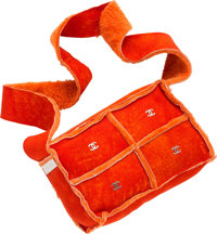 "Chanel Orange Shearling Suede Shoulder Bag Excellent Condition 9"" Width x 6"" Height x 3.5"" Depth"