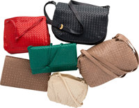 "Bottega Veneta Set of Six; Multicolor Intrecciato Nappa Leather Bags Good Condition 11"" Width x 7"