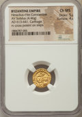 Ancients:Byzantine, Ancients: Heraclius (AD 610-641) and Heraclius Constantine (AD613-641). AV solidus (4.46 gm). NGC Choice MS 5/5 -4/5.  ...