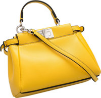 """Fendi Yellow Leather Micro Peekaboo Bag Excellent Condition 6"""" Width x 4.5"""" Height x 2"""" Depth"""