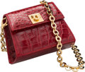 """Luxury Accessories:Bags, Salvatore Ferragamo Shiny Red Crocodile Evening Bag. Excellent Condition. 4.5"""" Width x 3.5"""" Height x 2"""" Depth. ..."""
