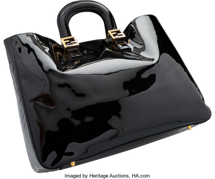 Fendi Black Patent Leather Tote Bag. Very Good to  256a6eb7987b8