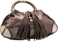 """Gucci Metallic Silver Python Top Handle Bag Excellent Condition 19"""" Width x 12"""" Height x 6"""" Depth"""