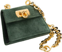 "Salvatore Ferragamo Green Suede Evening Bag Very Good to Excellent Condition 3.5"" Width x 2.5"" He"