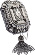 "Luxury Accessories:Bags, Judith Leiber Full Bead Black & Silver Crystal Minaudiere Evening Bag. Very Good to Excellent Condition. 4.5"" Width x ..."