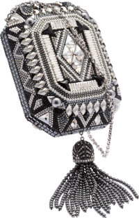 Judith Leiber Full Bead Black & Silver Crystal Minaudiere Evening Bag Very Good to Excellent Condition<