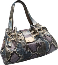 "Jimmy Choo Gray, Purple & Blue Python Tote Bag Very Good to Excellent Condition 14"" Width x 8.5"""